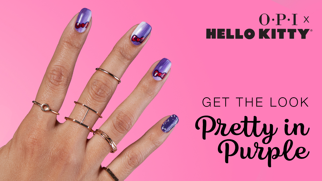 OPI x Hello Kitty Nail Art Pretty in Purple