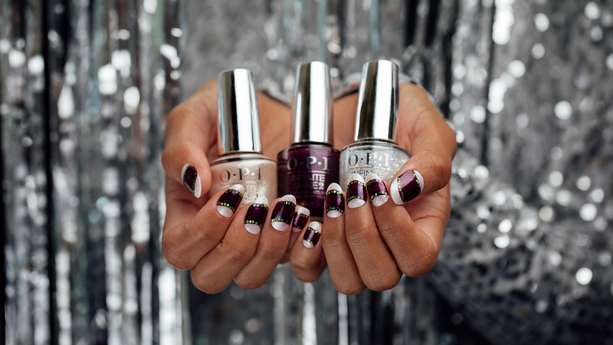 OPI Shine Bright Holiday Nail Art Look Ornamented In Glitter
