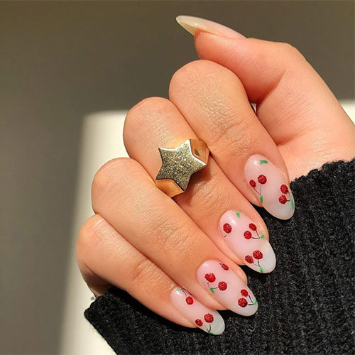 Cherry Negative Space Nail Art