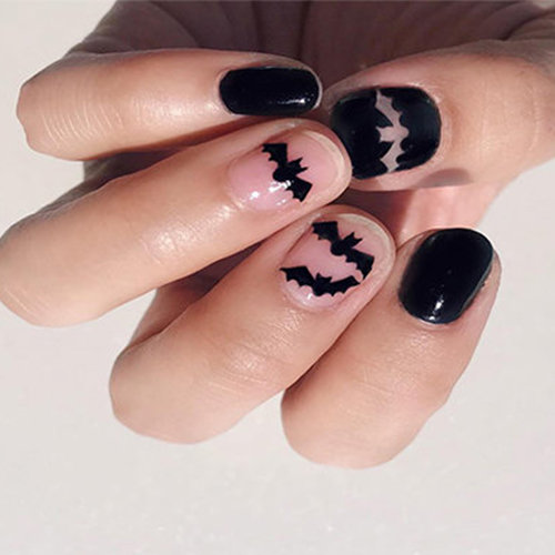 Bat nail art for Halloween season