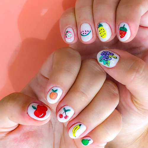 Mix up your #fruitnailart look by adding a different look to each nail