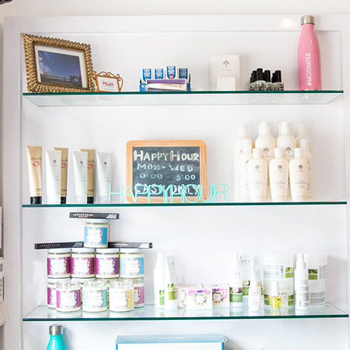 Product offerings inside The Polish Nail Lounge