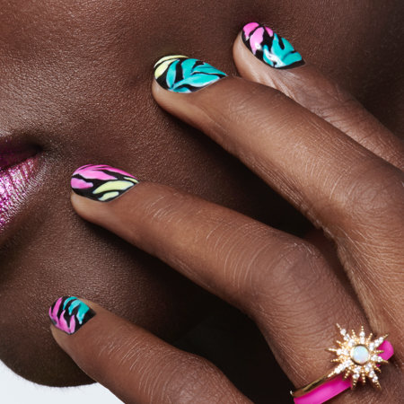 Colorblocking Nail Art: Neon Palms