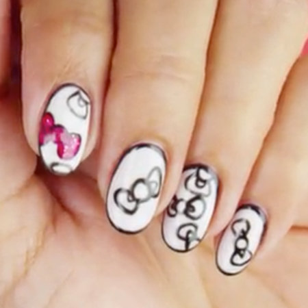 Linework Nail Art: Put a Bow On It