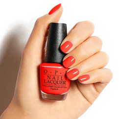 OPI Fiji Collection orange red nail polish Living On The Bula-vard! hand swatch