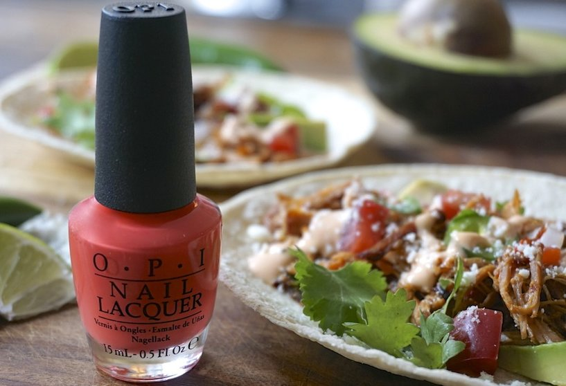 Braised Carnitas Pork Tacos topped with Sriracha Aioli - The Drop Blog by OPI