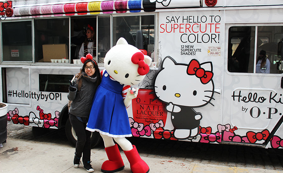 Hello Kitty giving out Hello Kitty by OPI nail laquer