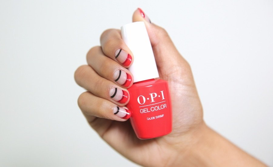 OPI, Blog, Designscape Tutorial, Nail Art Tutorial, Nails by Mei, Cajun Shrimp, GelColor, ProHealth