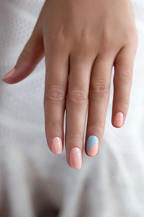 OPI, Soft Shades, Nail art, Blue & pink half moon, Truly Yours