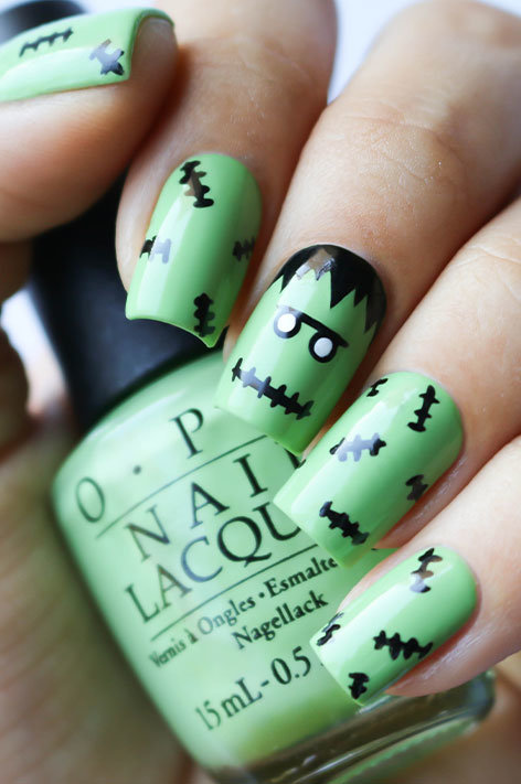 OPI, Halloween Nail art 2016, banicured, Frank & Stitched