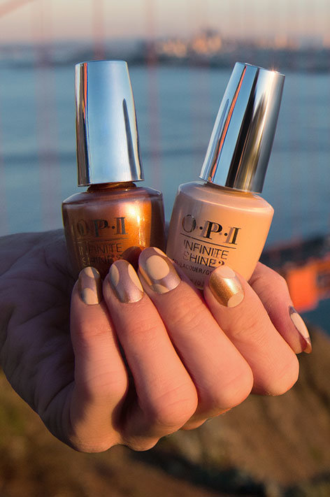 OPI California Dreaming Collection Nail Art SPF OPI with Sweet Carmel Sunday and Feeling Frisco nail polish bottles