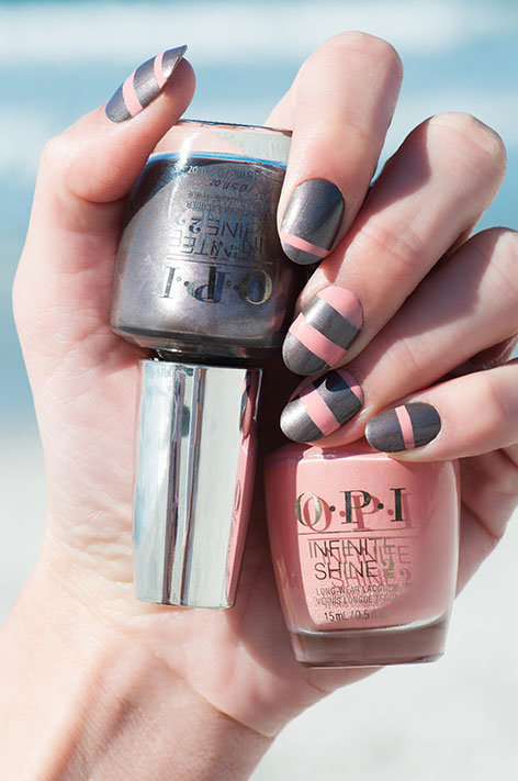 OPI California Dreaming Nail Art Shorelines manicure with Infinite Shine Time for Napa and Don't Take Yosemite for Granite nail polish bottles