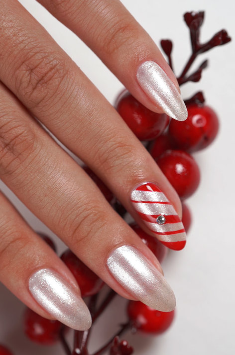Shine Bright Holiday Collection DIY Nail Art Candy Cane Bling
