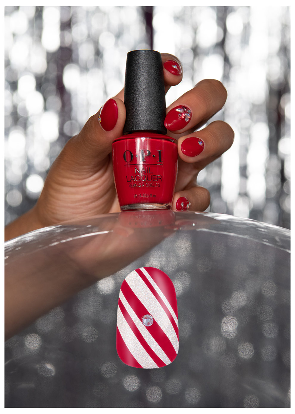 OPI Nail Art Candy Cane Bling