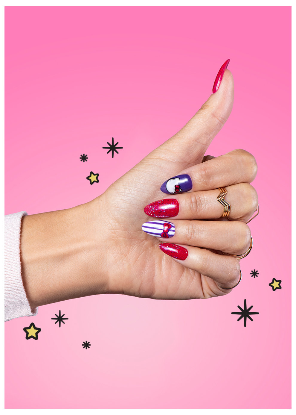 OPI x Hello Kitty Nail Art Go with the Bow