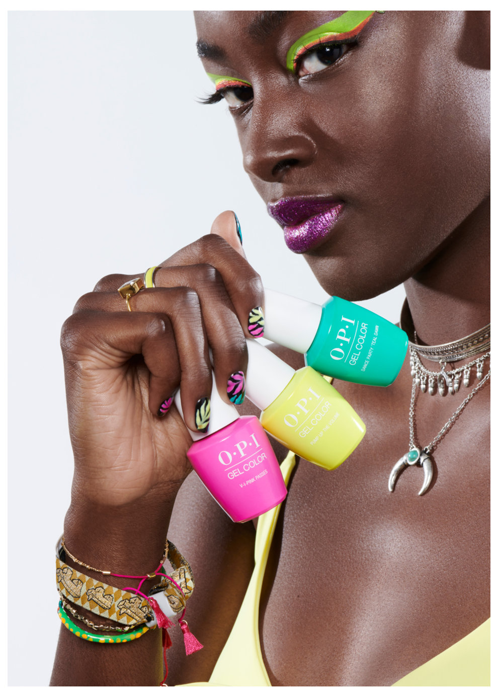Neons Nail Art Look: Neon Palms